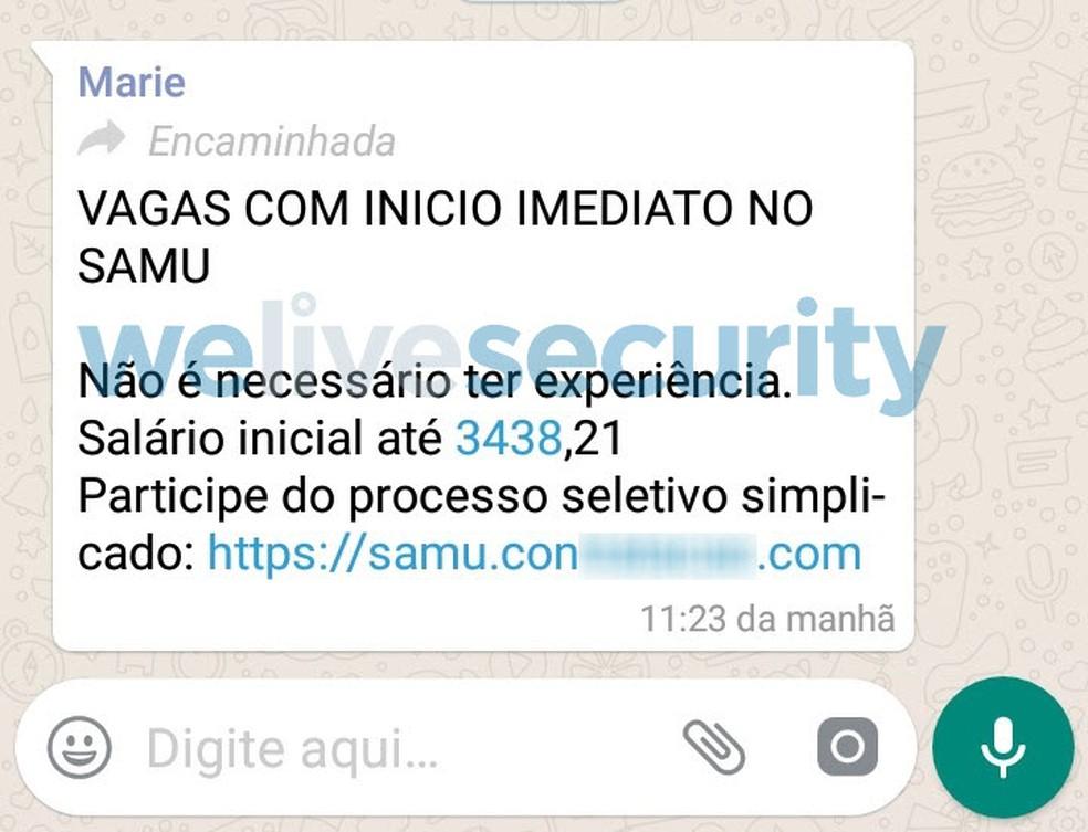 Mensagem com falsa oferta de emprego do Serviço de Atendimento Móvel de Urgência (Samu) — Foto: Reprodução/ We Live Securite