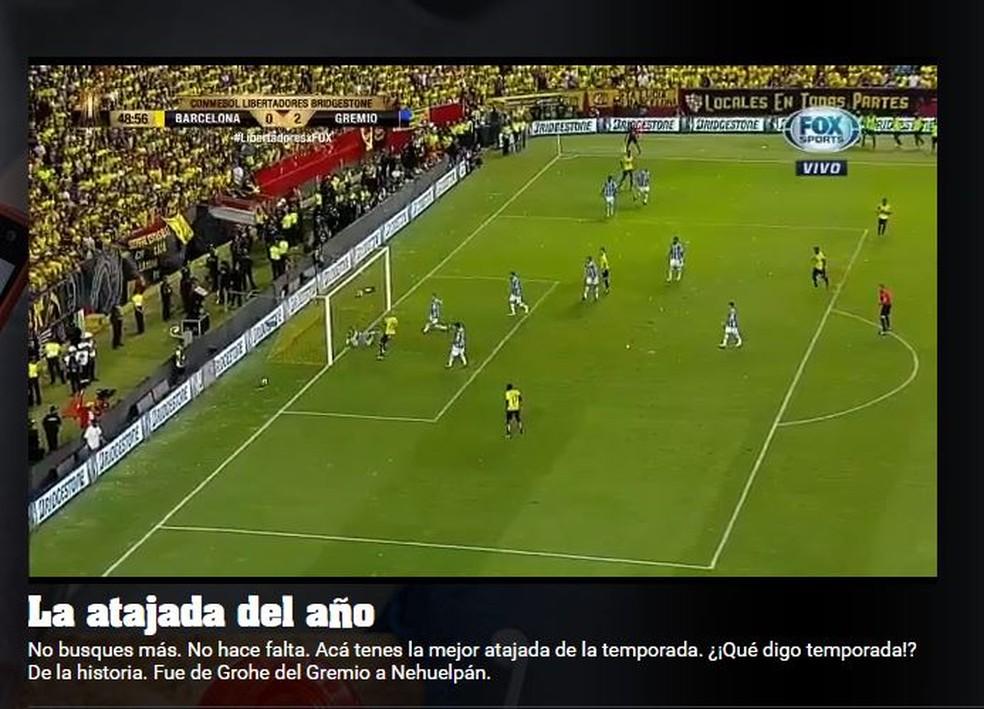 Jornal argentino Olé também destacou o o lance do gremista (Foto: Reprodução)