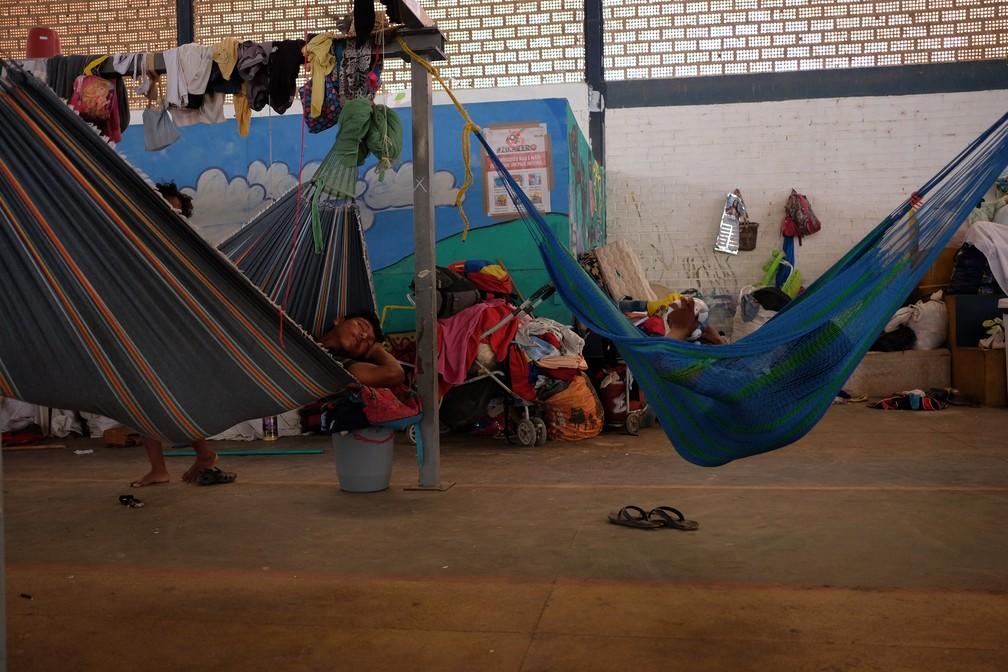 Abrigo para índios venezuelanos está lotado e pode parar de receber novos imigrantes em breve (Foto: Inaê Brandão/G1 RR)