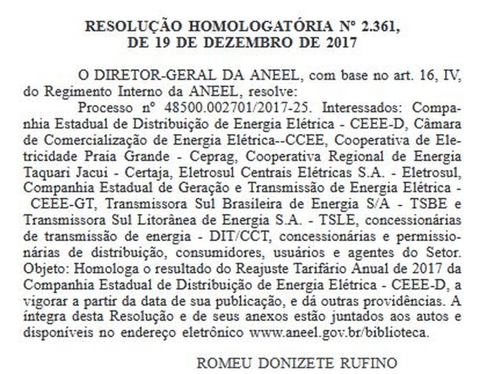 Aneel publica reajuste nas contas de luz de clientes da CEEE (Foto: Reprodução)