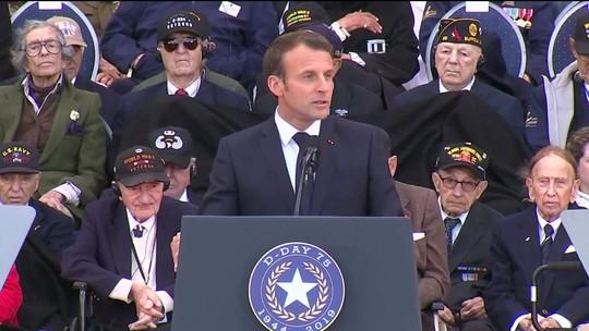 Em discurso na Normandia, Macron manda recado para Trump