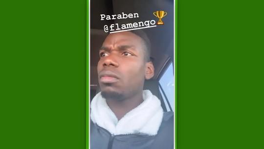 """Pogba dá parabéns ao Flamengo, e torcedores respondem: """"Bom reserva para o Gérson"""""""