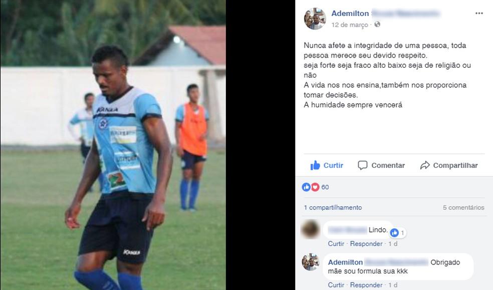 Miltão faz postagem reflexiva um dia depois da discussão com Alex Santos (Foto: Reprodução/ Facebook)