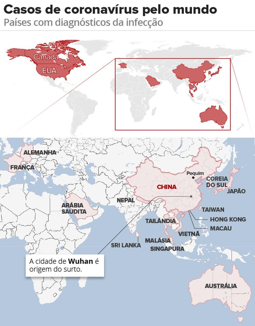 Coronavírus pelo mundo  — Foto: Arte G1