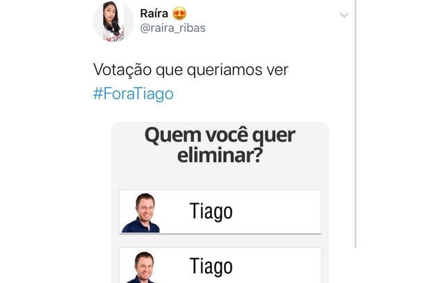 Meme com os pedidos da saída do apresentador Tiago Leifert do 'Big Brother' (Foto: Reprodução/ Twitter)