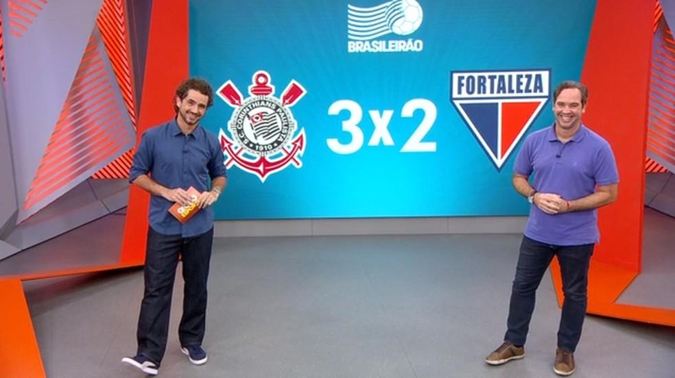 Caio Ribeiro comenta vitória do Corinthians sobre o Fortaleza, na Arena Corinthians — Foto: Reprodução/TV Globo