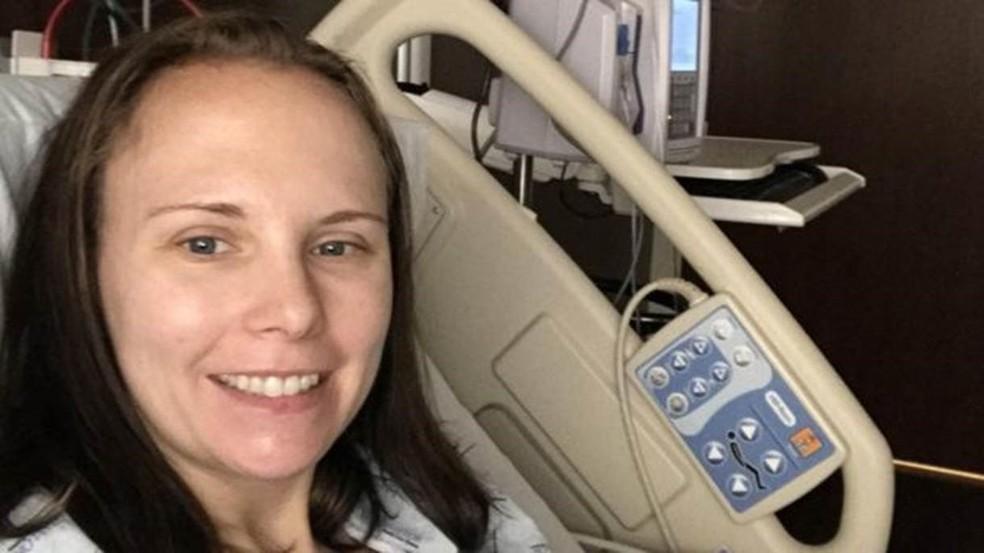 Heather participou como doadora de uma pesquisa clínica realizada pelo Baylor University Medical Center, no Texas — Foto: Arquivo pessoal