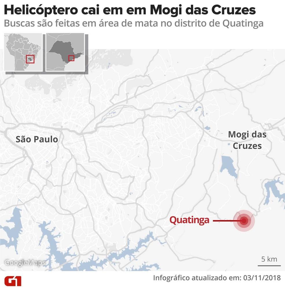 Helicóptero cai no distrito de Quatinga em Mogi das Cruzes. — Foto: Alexandre Mauro/G1