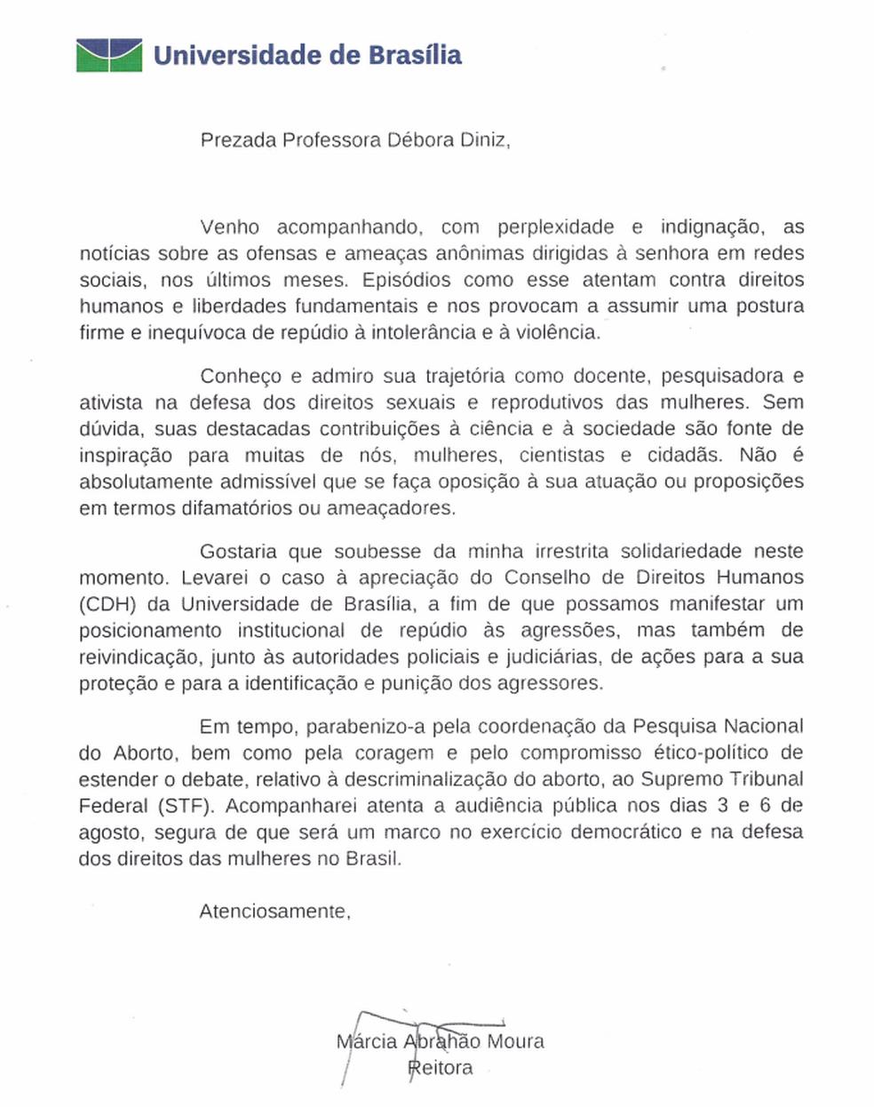 Carta enviada pela reitoria da UnB à Debora Diniz (Foto: Reprodução)