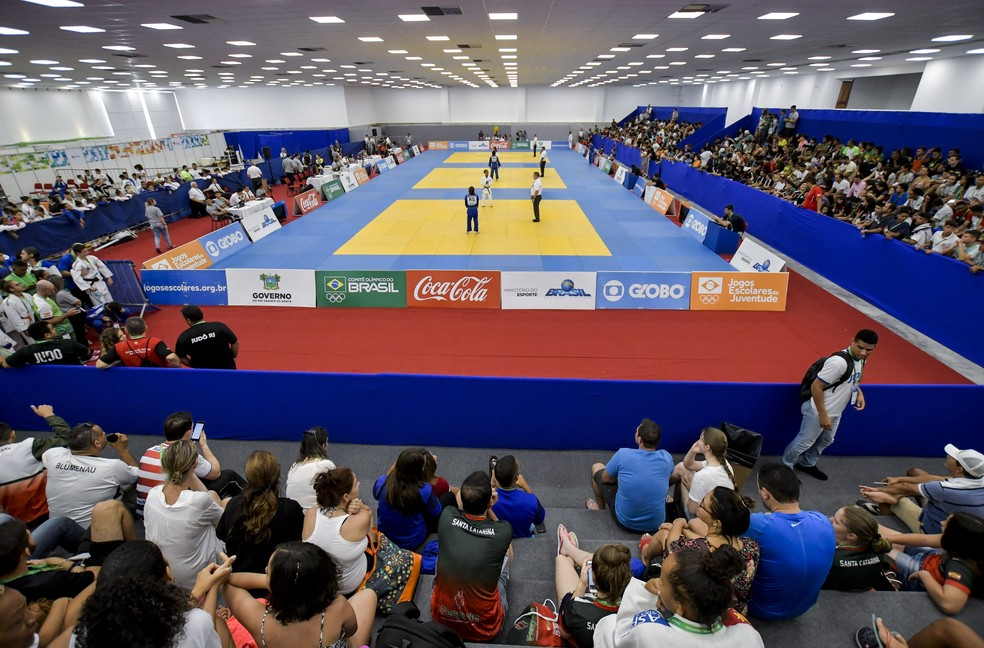 Judô dos Jogos Escolares da Juventude é disputado no Centro de Convenções e tem entrada gratuita — Foto: Washington Alves/Exemplus/COB