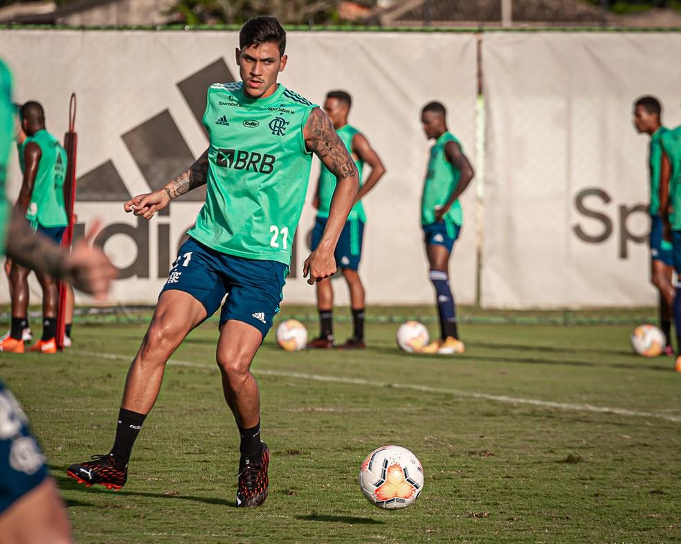 Pedro no treino de segunda-feira. Atacante volta a ser relacionado — Foto: Paula Reis/Flamengo