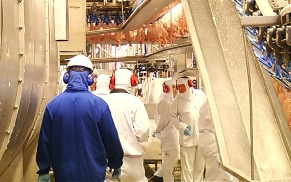 Ministro da Agricultura e grupo chinês visitam fábrica da BRF em Rio Verde Goiás (Foto: Reprodução/TV Anhanguera)