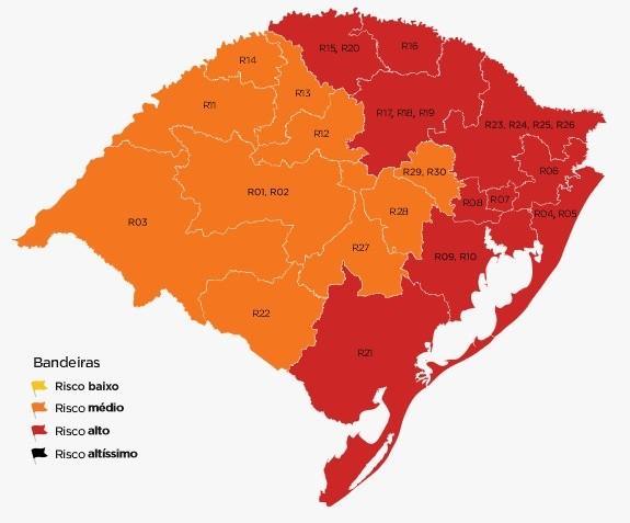 Com avanço da Covid-19, 73,4% da população do RS fica em regiões de bandeira vermelha