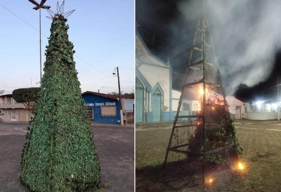 Árvore de Natal é alvo de incêndio e prefeitura diz que foi vandalismo — Foto: Divulgação/Prefeitura de Ubaitaba