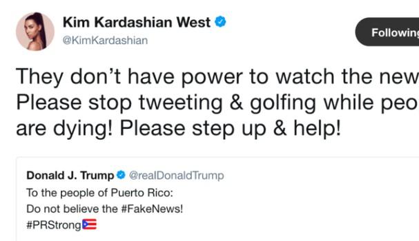 Kim Kardashian alfinetou o presidente Trump e pediu que ele também ajudasse as vítimas do furacão que atingiu Porto Rico (Foto: Twitter/Reprodução)
