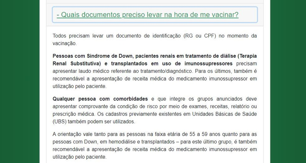 Informação sobre documentos necessários para a vacinação contra a Covid-19 disponível no site VacinaJá. — Foto: Reprodução