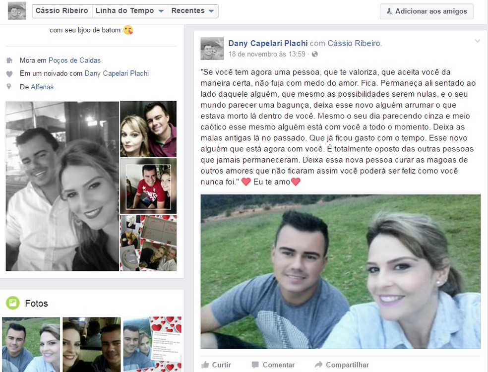 Daniele e o noivo apareciam em diversas fotos nas redes sociais — Foto: Reprodução/Redes Sociais