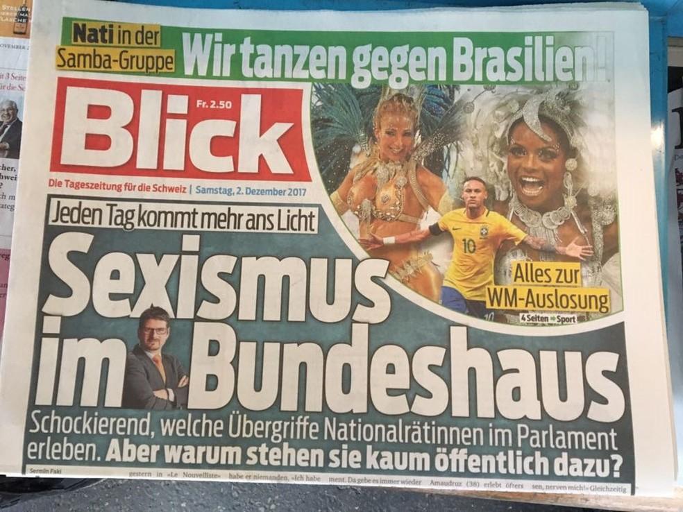 Jornal Blick, da Suíça, estampa Neymar, Valesca Popozuda e Adriana Bombom (Foto: Ivan Raupp)