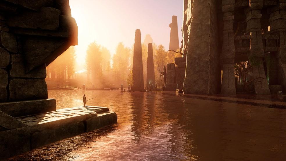 A misteriosa ilha de Aeternum é repleta de lindas paisagens — Foto: Divulgação Amazon Studios
