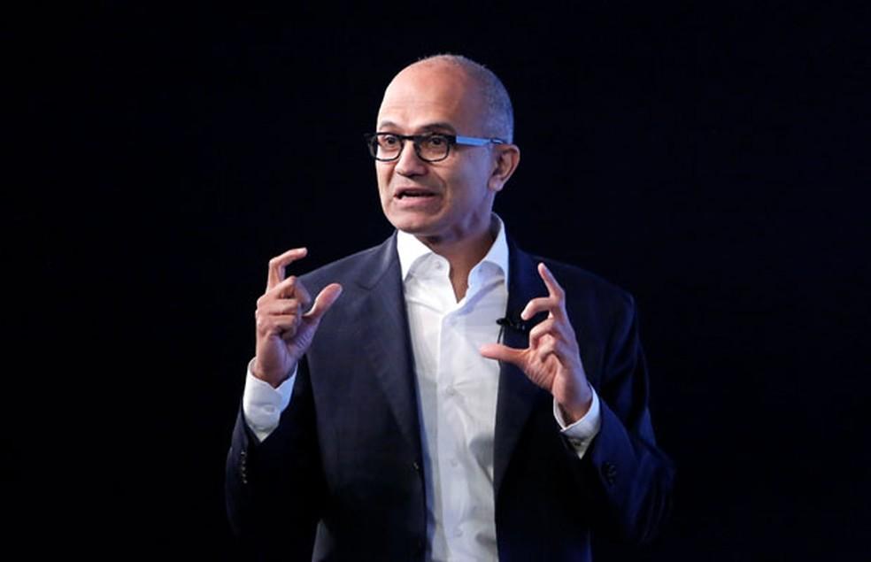 -  Presidente-executivo da Microsoft, Satya Nadella, durante palestra para estudantes na Índia.  Foto: Anindito Mukherjee/Reuters