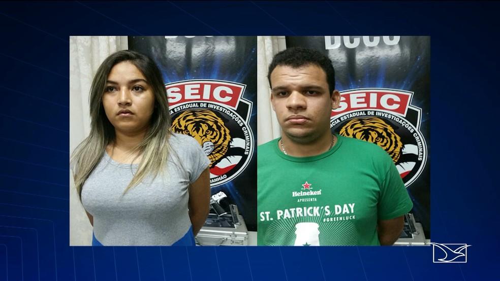 Natália Raíssa de Sena Silva e Gabriel Frazão Silva foram presos com pistola das Forças Armadas (Foto: Reprodução/TV Mirante)