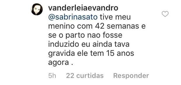 Seguidora comenta em perfil de Sabrina Sato (Foto: Reprodução / Instagram)
