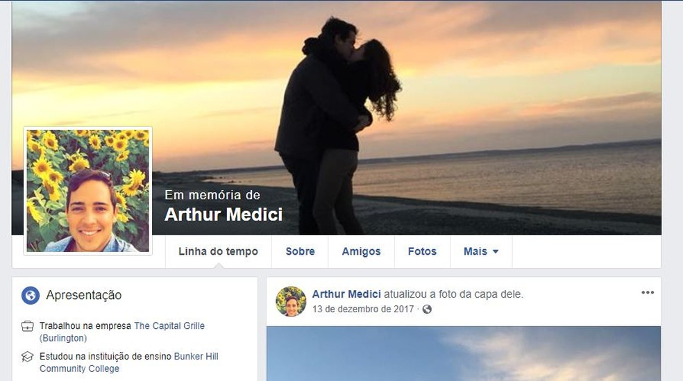 Perfil em memora de Arthur Medici — Foto: Reprodução/ Facebook