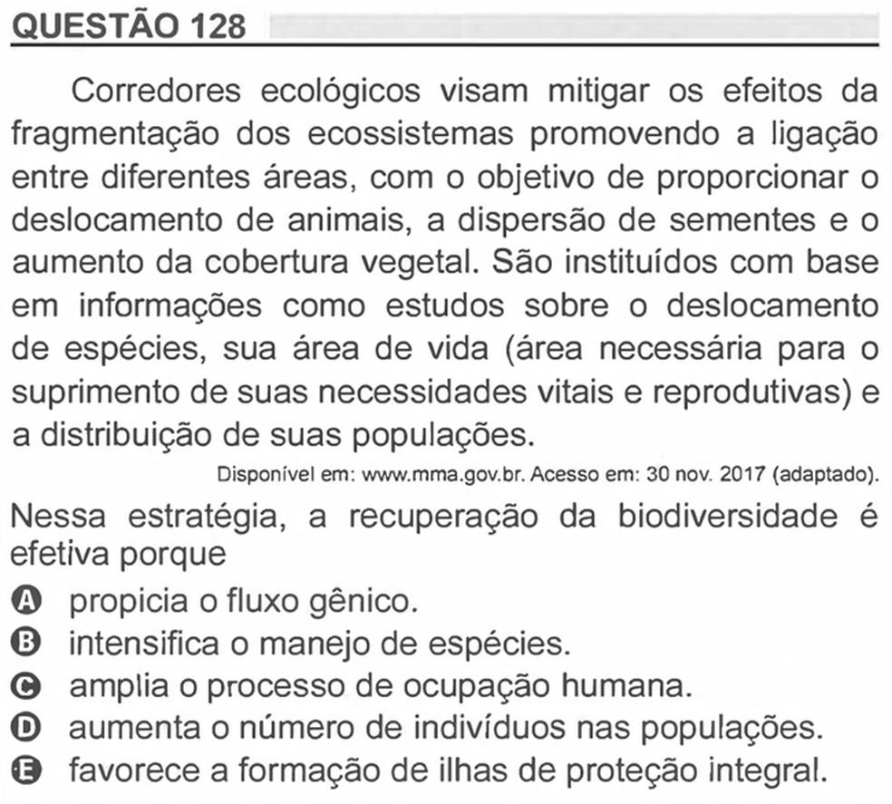 Enem 2018 - Prova Amarela - Pergunta 128 (Ciências da natureza e suas tecnologias) — Foto: Reprodução