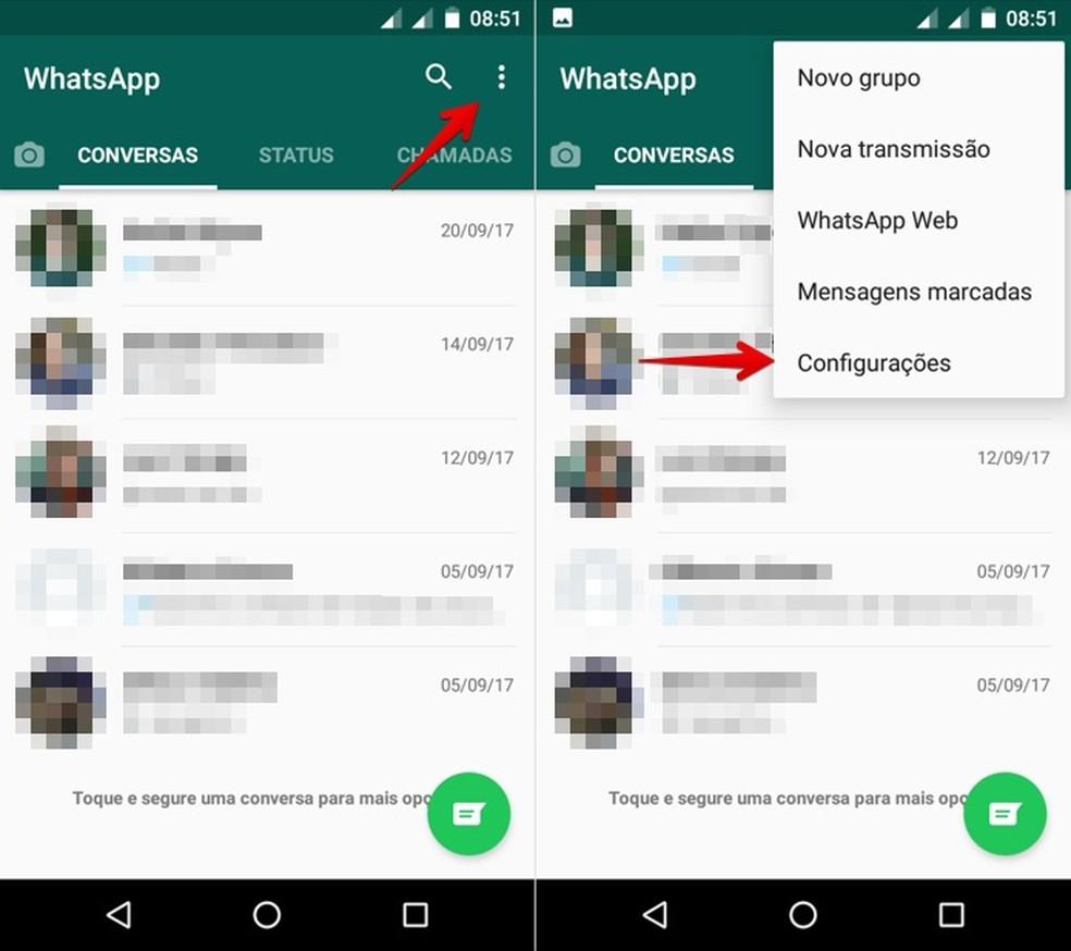 Abra as configurações do WhatsApp para Android (Foto: Reprodução/Helito Bijora)