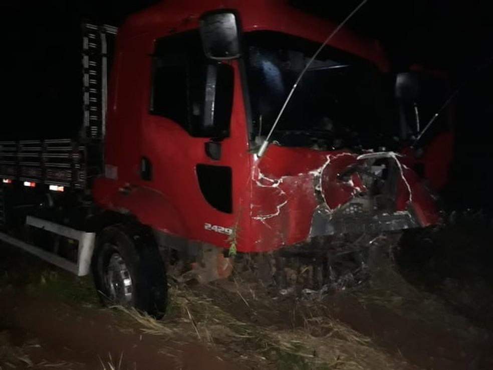 Caminhão que bateu com carro que atropelou anta em rodovia de MS. — Foto: Cenário MS