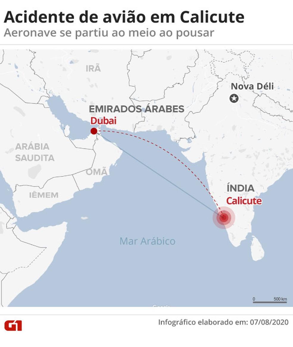Mapa mostra rota do avião que se acidentou ao chegar em Calicute — Foto: Aparecido Gonçalves/G1