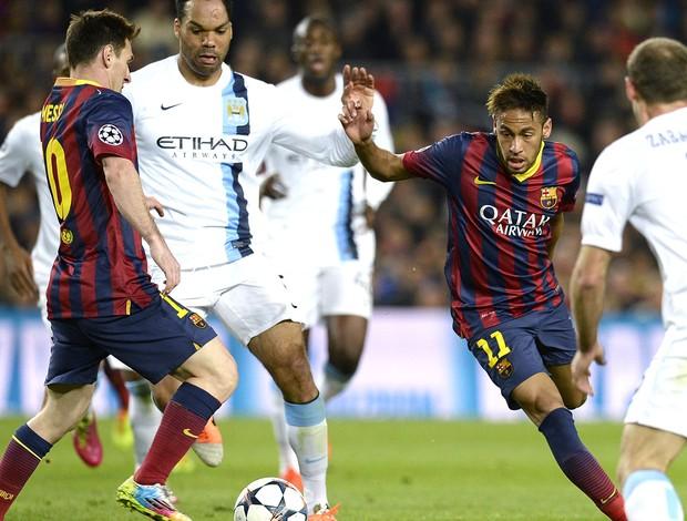 Neymar e Messi jogo Barcelona e Manchester City (Foto: AFP)