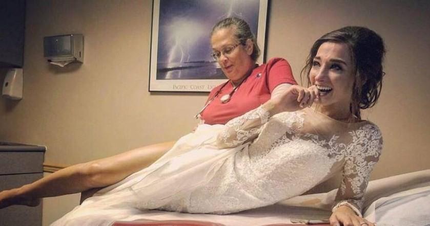 Christine Jo Miller toma injeção contra reação alérgica no dia do seu casamento