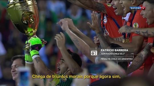 """Messi enlouquece narrador chileno  ao errar: """"Os grandes também falham"""""""