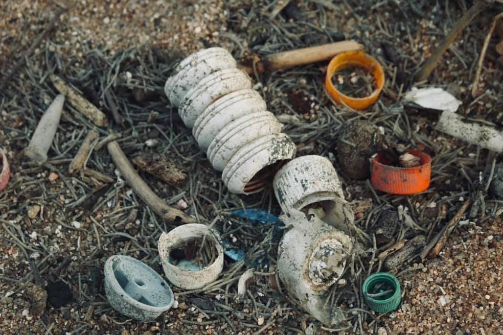 Garrafas de diversos modelos foram encontradas por visitante na Praia do Perigoso, em Barra de Guaratiba, na Zona Oeste do Rio. — Foto: Reprodução/Rafael Lelis