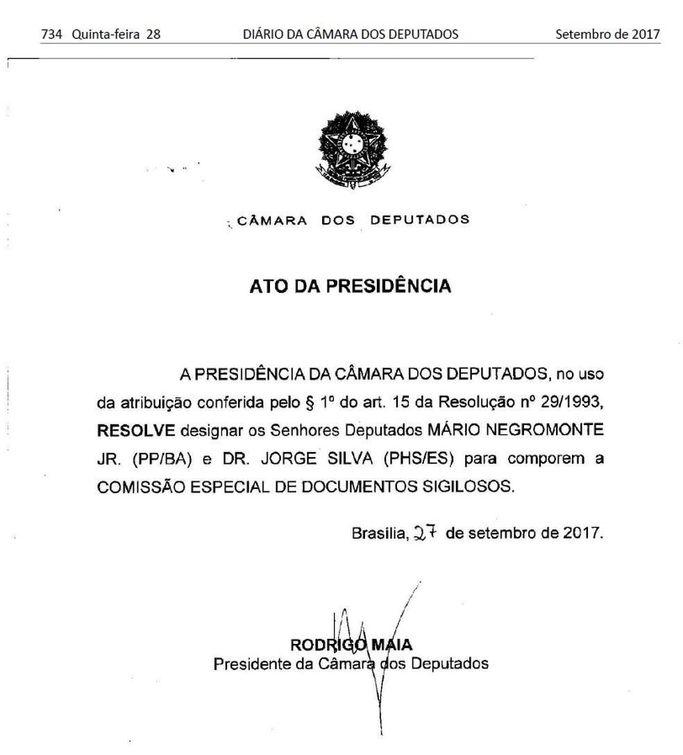 Ofício assinado por Maia para nomear dois deputados para comissão da Câmara (Foto: Reprodução)
