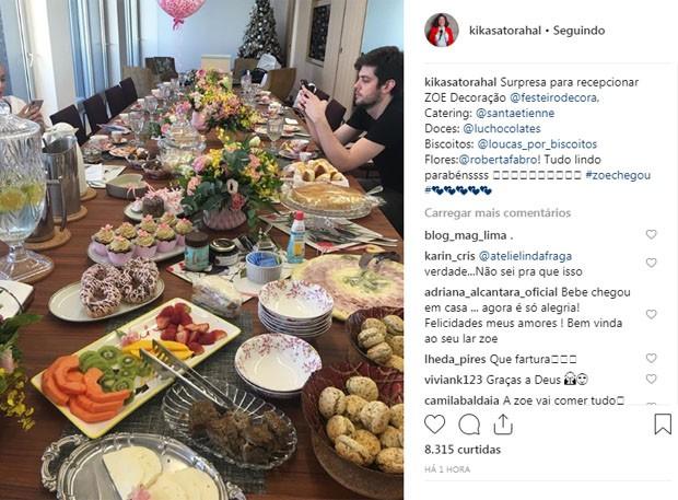 Dona Kika Sato mostra mesa para celebrar chegada de Zoe (Foto: Reprodução/Instagram)