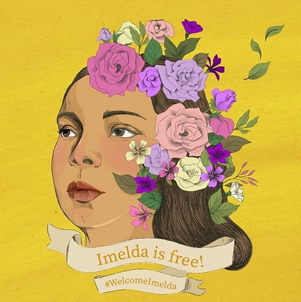 Arte circulou pelas redes sociais como parte dos protestos pela libertação da jovem  (Foto: Reprodução/Instagram/Paula Avila Guillen)