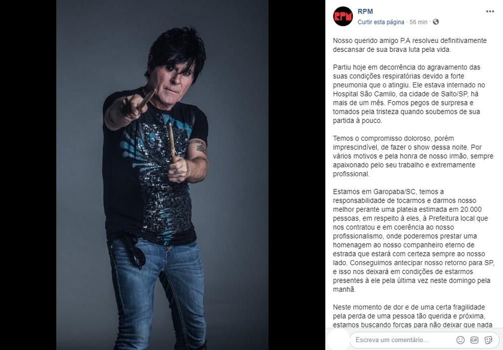 Banda RPM publicou nota sobre falecimento do músico Paulo Pagni — Foto: Facebook/Reprodução