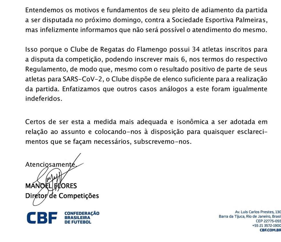 Documento assinado por Manoel Flores com a negativa de adiamento — Foto: Reprodução