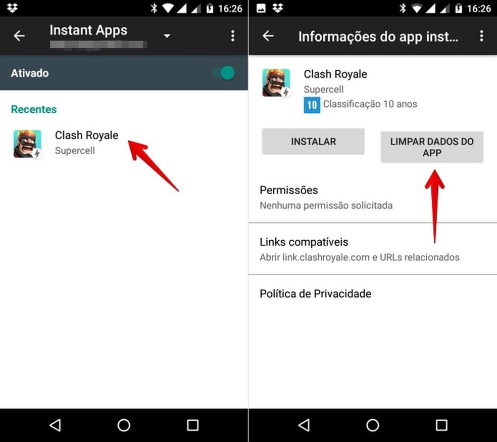 Apagando dados do app testado (Foto: Reprodução/Helito Bijora)