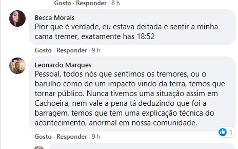Moradores de Cachoeira, relataram tremor de terra no município do recôncavo baiano — Foto: Reprodução/Facebook
