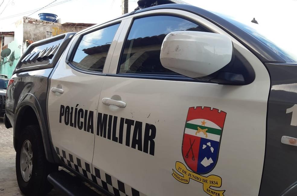 Viatura da Polícia Militar, RN — Foto: Sérgio Henrique Santos/Inter TV Cabugi