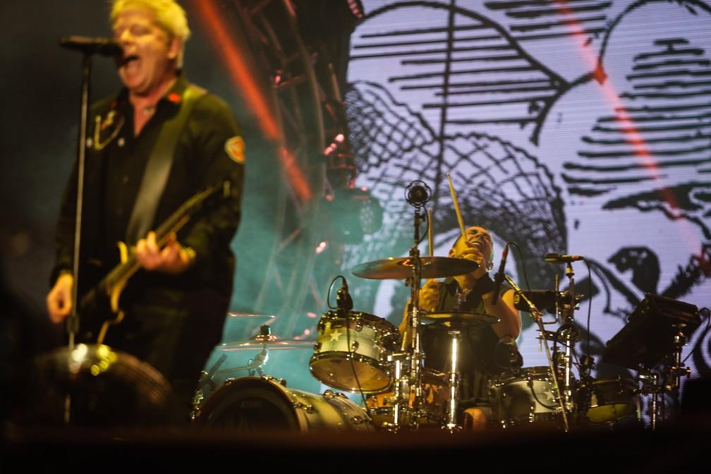 Pete Parada se apresenta com o Offspring no Palco Mundo do Rock in Rio, em 2017 — Foto: Fábio Tito/G1
