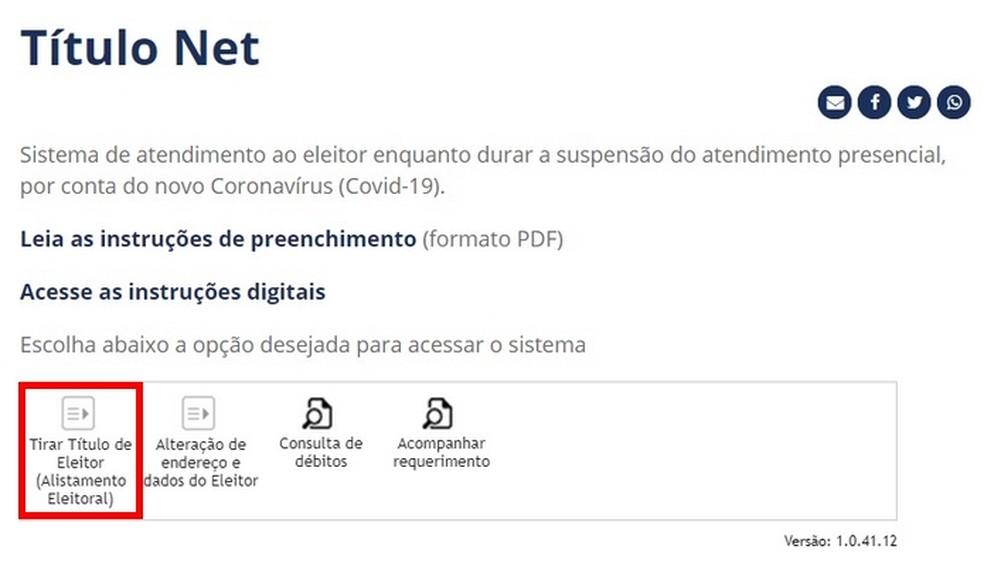 Ferramenta Título Net pode ser usada para tirar o primeiro título de eleitor — Foto: Reprodução/Raquel Freire