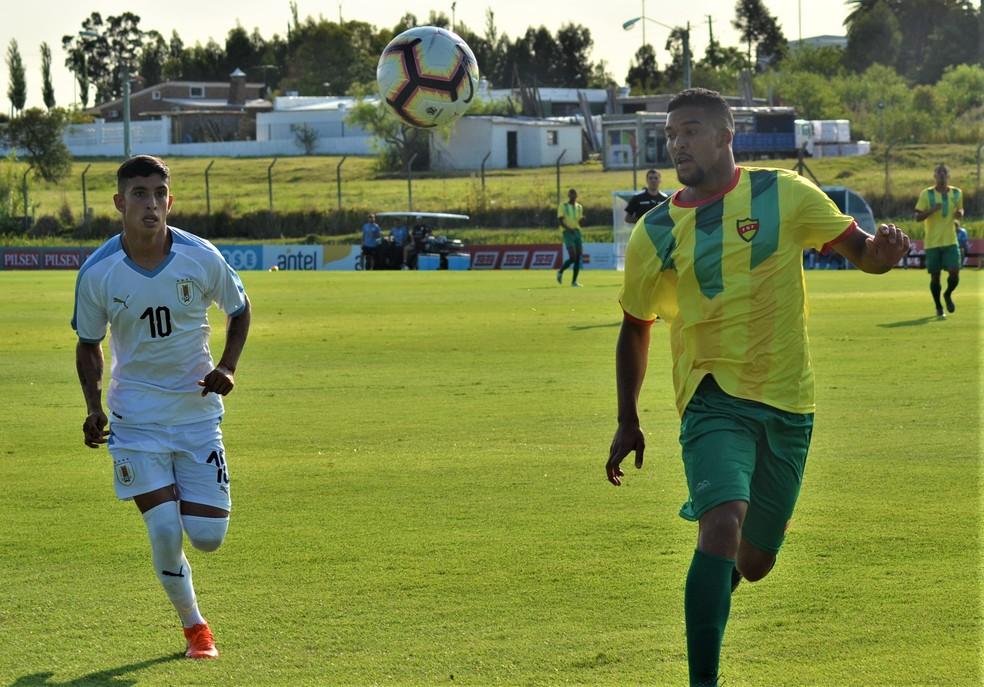 Santiago Rodríguez no amistoso contra o selecionado da Federação Gaúcha de Futebol — Foto: Divulgação/AUF