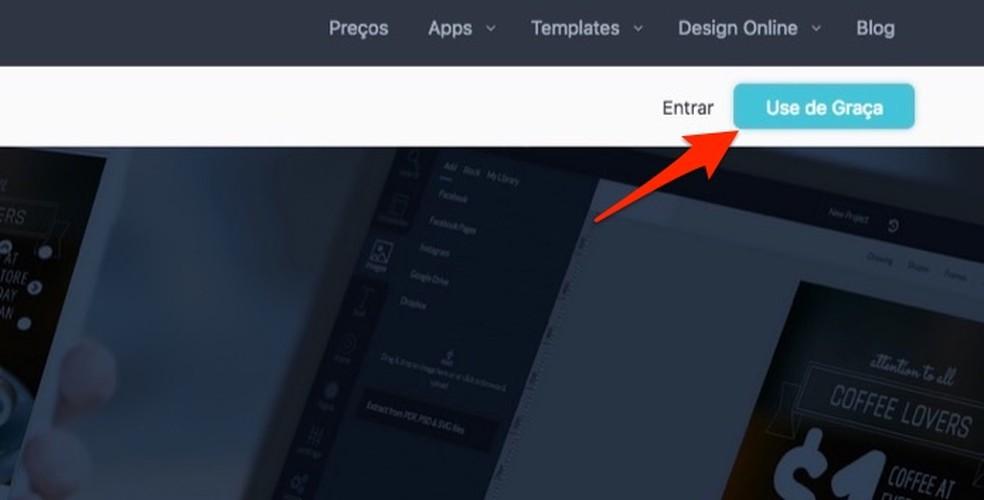 54c3d0274f ... Ação para abrir a tela de login e cadastro do serviço online Desygner —  Foto: