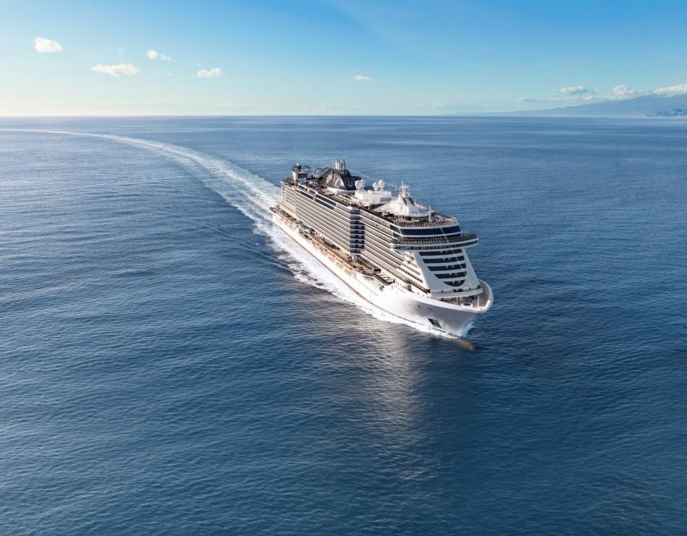 Navio MSC Seaview, em Genova, Itália — Foto: Divulgação/MSC Rights