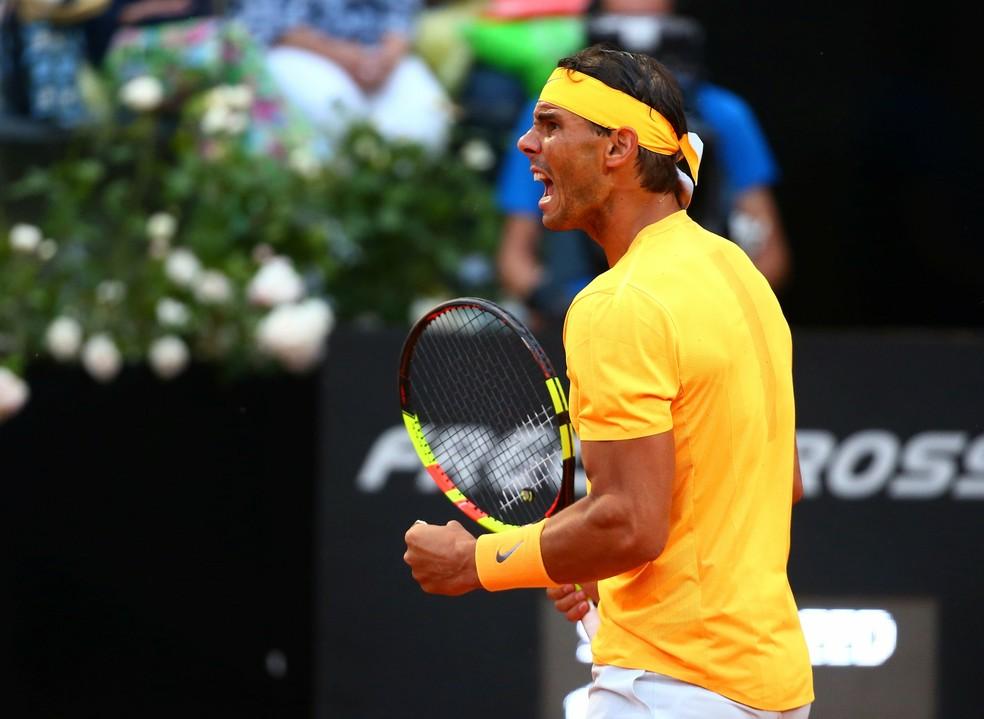 Rafael Nadal vibra muito durante a decisão (Foto: REUTERS/Tony Gentile)