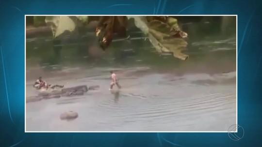 Jovem foge de hospital, pula em rio e agride policiais em Além Paraíba; veja vídeo
